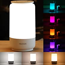 HUGOAI LED Table Lamp, Bedside Lamp, Night Light for Bedroom with Dimmable Whites, Vibrant RGB Colors and Memory Function, No Flicker - White