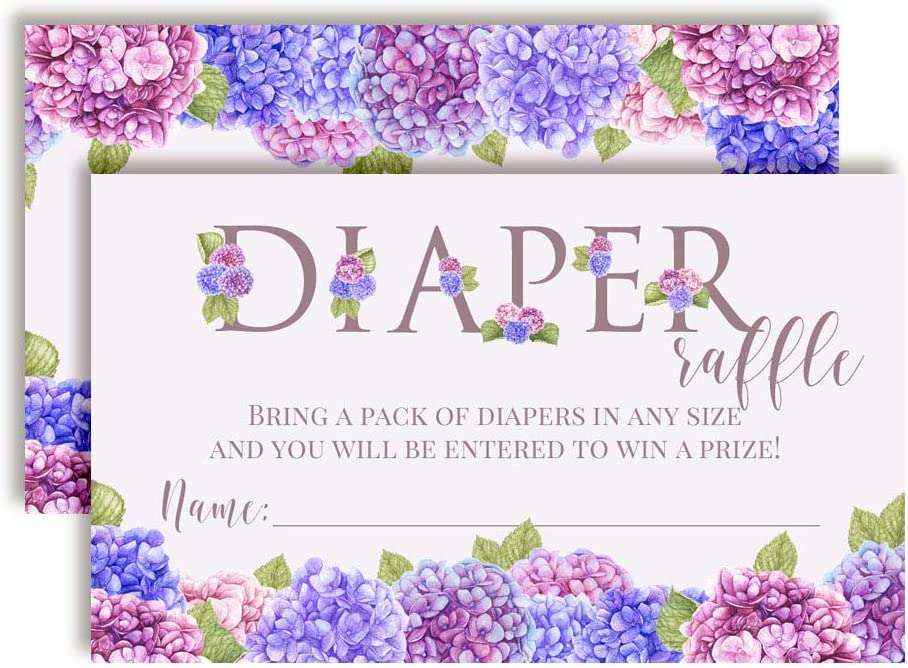 Blue & Purple Hydrangea Watercolor Floral Diaper Raffle Tickets for Baby Showers, 20 2