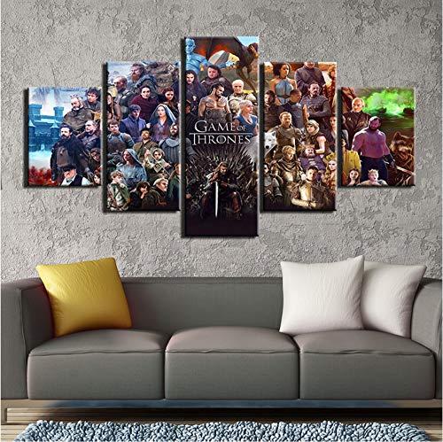 5 Piezas de Pintura en Lienzo Juego de Trono Personaje Imagen de Pared Cuadros para Sala de Estar pósters e Impresiones decoración para el hogar 40x60cmx2 40x80cmx2 40x100cmx1