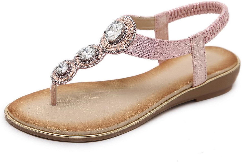AmoonyFashion Women's Blend Materials Elastic Split-Toe Low-Heels Solid Sandals