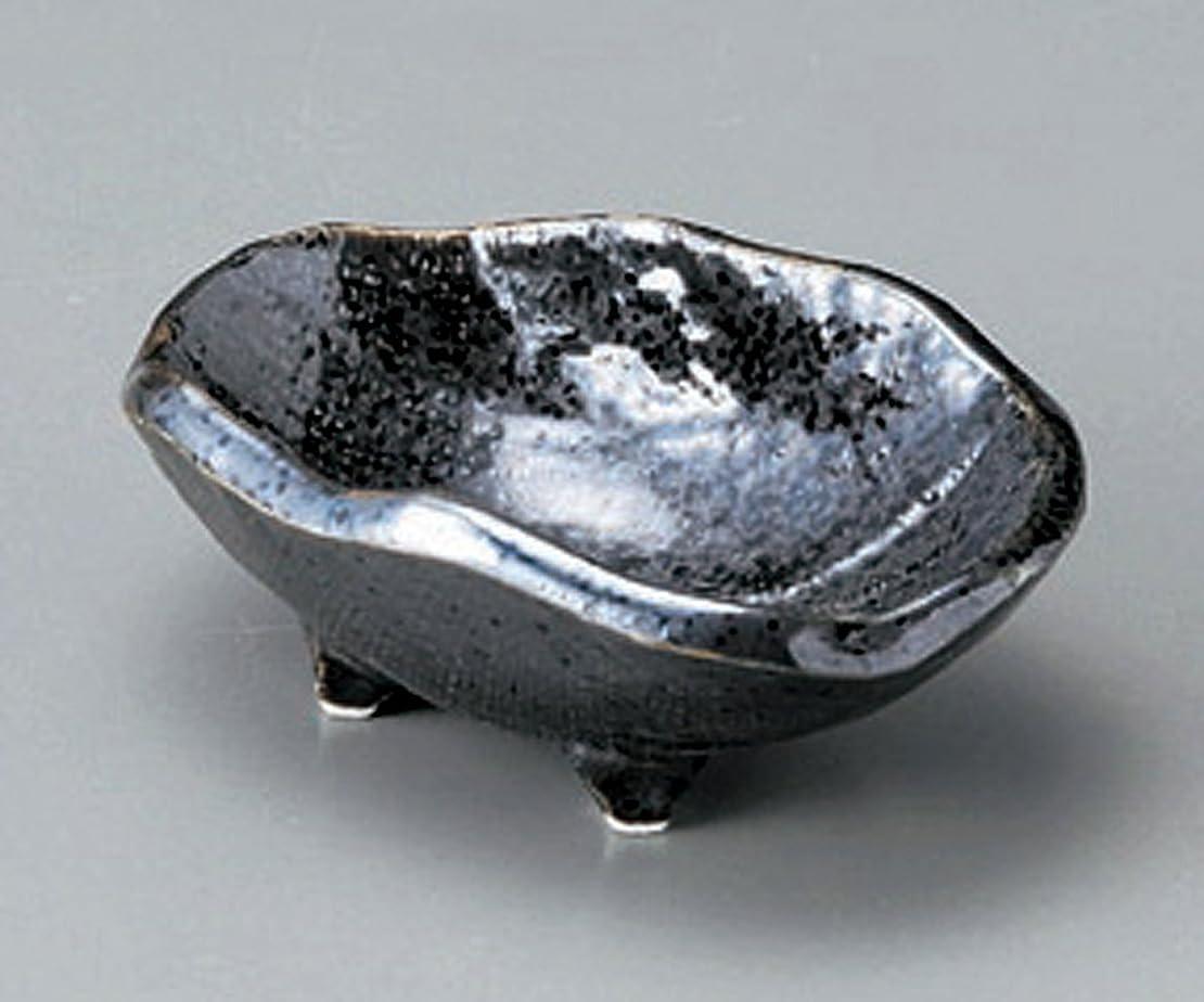 谷船ずんぐりした黒結晶 布目 楕円 9.8cm小鉢 前菜や小鉢料理に、デザートにも