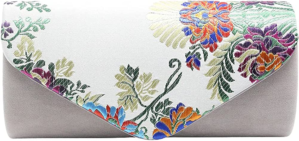 Ancdream Vintage Floral Embroidery Clutch Wedding Party Prom Bag Bridal Ladies Crossbody Evening Handbag with Removable Strap