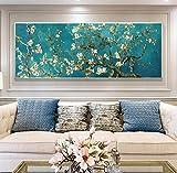 N\C Van Gogh - Reproducción de pintura al óleo con diseño de almendra famosa y flores para la decoración del salón