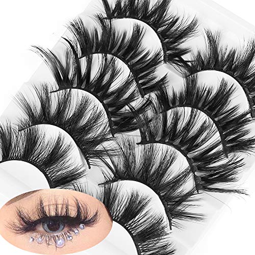 szxbogs 5 Pairs 3D False Eyelashes,Handcrafted layered Wispy Cross Fluffy Soft Eye Lash Extension Natural Long