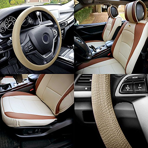 FH Group PU205102 Ultra Comfort Highest Grade Faux Leather Seat Cushions (Beige/Tan) Front Set with Gift – Universal Fit for Cars Trucks & SUVs
