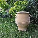 Kreta-Keramik | handgefertigte Amphore mit Henkel aus Terracotta | frostfest und witterungsbeständig | 40 cm | Garten Balkon Terrasse, Thymus