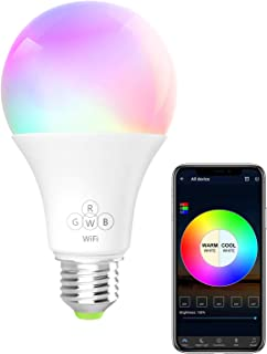 BERENNIS Smart Light Bulb, RGBW Wi-Fi LED Bulb [6.5W 500LM] Dimmable Multicolored Lights, No Hub Required, Compatible with Alexa and Google Home