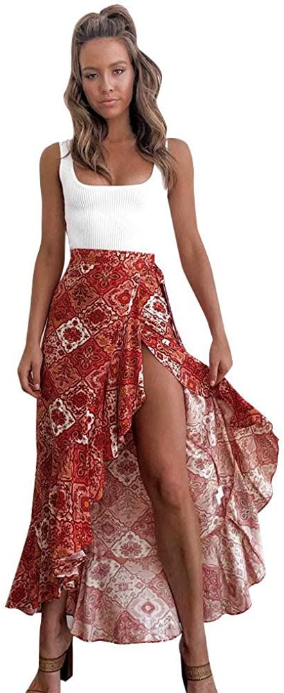 Wmen Dallas Mall High Waist Bandage Max 68% OFF Leopard Printing Wrap Bow Mi Split Satin
