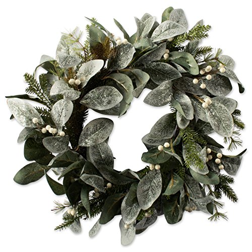 """DII Decorative Flocked Leaves & Berries 20"""" Winter Wreath for Front Door or Indoor Wall Décor to Celebrate Christmas & Winter Season"""