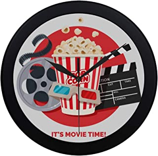 Modern Simple Movie Clapper and Film Reel Cinema Wall Clock Indoor Movement Wall Clcok for Office,Bathroom,livingroom Deco...