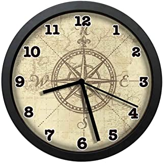 jiushiyigezi-n Compass Rose Drawings Individuality Modern Wall Clock, Silent Non-Ticking Quartz Wall Clock for Living Room School Office 10in with Frame