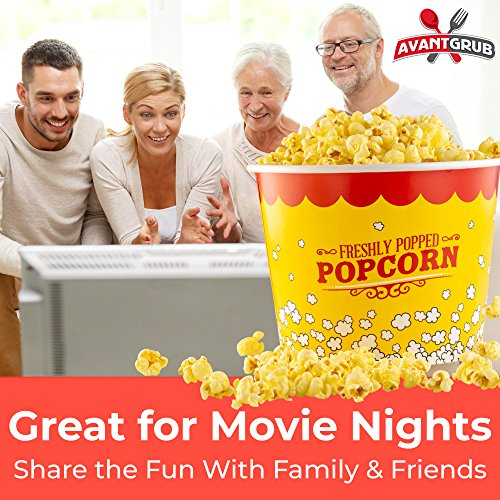 Product Image 2: Leakproof, Super Durable 85oz Popcorn Buckets 3 Pack. Grease-Proof Disposable Pop Corn Tubs With Cool Design Are the Ultimate Movie Theater Accessory. Large Containers Great for Any Party or Event