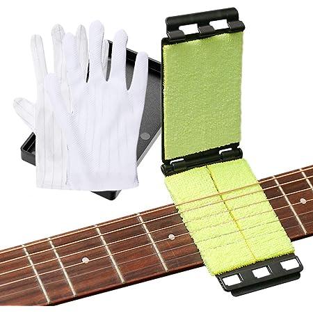 HONGECB Nettoyeur de Cordes pour Guitare, Manche de Guitare Outils de Nettoyage et Entretien, Nettoyeur pour Instruments à Corde, Guitare/Basse/Mandoline/Ukulélé, 1 Paire de Gants Antistatiques