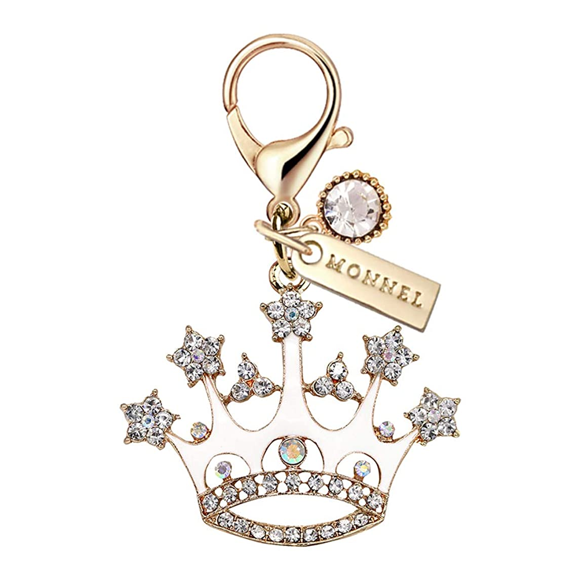 MC130 New Cute Crystal White Queen Crown Big Lobster Charm Pendant with Pouch Bag (1 Piece)