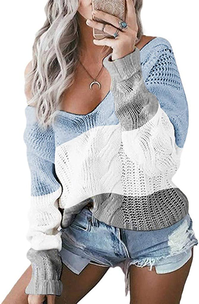 iQKA Camisas Women Casual V-Neck Pullovers, Long Sleeve Color Block Patchwork Loose Knitted Sweaters Jumper Tops