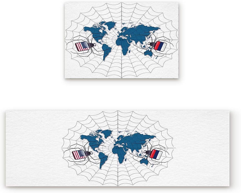 KAROLA 2 Piece Non-Slip Kitchen Mat Doormat Runner Rug Set Thin Low Pile Indoor Area Rugs World Map Cartoon Web 19.7 x31.5 +19.7 x47.2