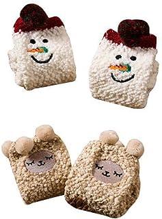 Black Temptation, 2 pares suave Fuzzy dormir medias antideslizantes, calcetines del piso Calcetines-muñeco de nieve y cordero