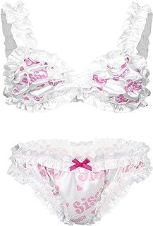 Alvivi Sissy Men's Underwear Sets Push Up Ruffle Bra + Panties with Bowknot Sexy Sleepwear