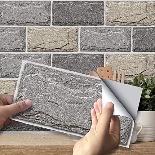 Pegatinas Azulejos Pared, Autoadhesivas Impermeables 3D Pegatinas de Azulejos Transferencias Azulejos Piso Bricolaje para Cocina Sala de Estar Baño Hogar Decoración (54,C)