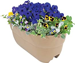 """EMSCO Group Bloomers Railing Planter with Drainage Holes – 24"""" Weatherproof Resin Planter – Sand"""
