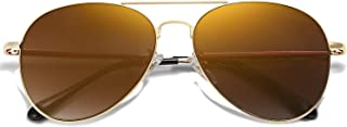 Classic Aviator Mirrored Flat Lens Sunglasses Metal Frame with Spring Hinges SJ1030