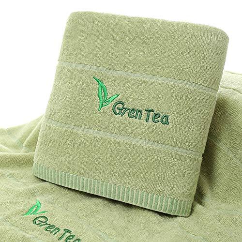 Shangfu Suministros de baño Bordado Lavanda Verde té to Toalla Conjunto Raya Belleza Cara Toalla Grande baño Towel Home Hotel (Color : Green, Size : 3pcs Towel Set)