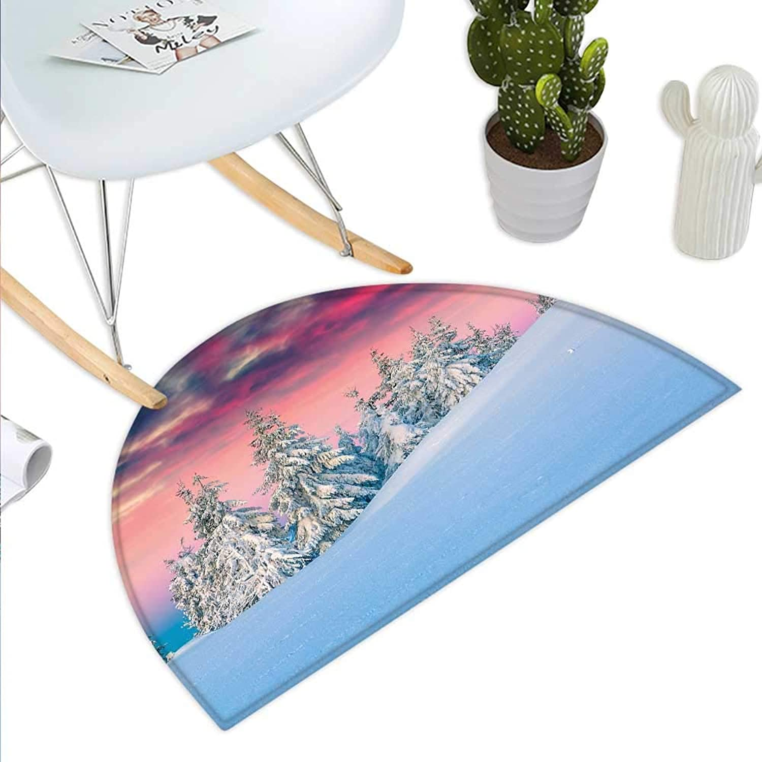 Winter Semicircle Doormat Idyllic Scenery in Snow Covered Mountains Pine Tree Forest Majestic Sky Serenity Halfmoon doormats H 39.3  xD 59