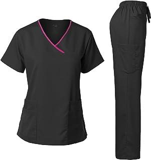 Dagacci Medical Uniform Women's Scrub Set Stretch Contrast Binding Top and Pants
