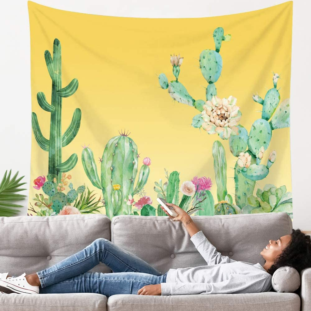 Yellow Oakland Mall Cactus Tapestry Flower Plant Tapes All stores are sold Art Wall