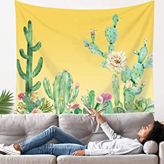 LANG XUAN Yellow Cactus Tapestry Flower Wall Tapestry Plant Art Wall Tapestry Cute Decor Wall Hanging for Room (Yellow Cac...