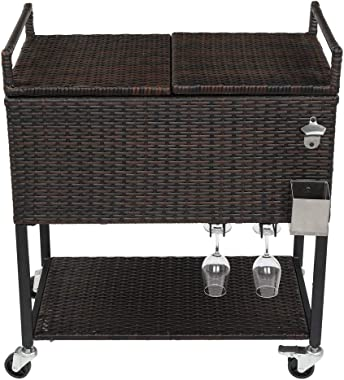 HCTT SHOW 80QT Gradient Rattan with Wine Rack Stainless Steel Panel Drain Pipe Without Foam Freezer Incubator
