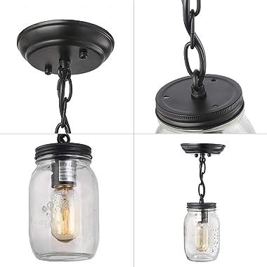 LNC Flush Mount Light Fixture,Farmhouse Mason Jar Pendant A03220, Single Ceiling