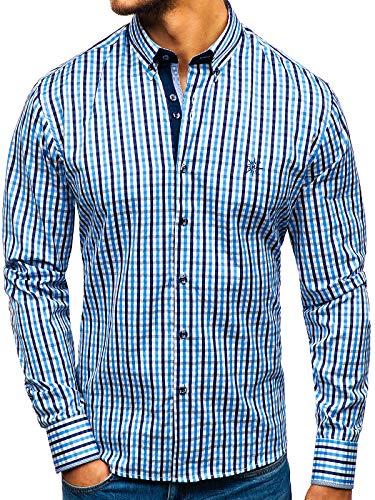 BOLF Hombre Camisa De Manga Larga 4712 Azul Claro L [2B2]