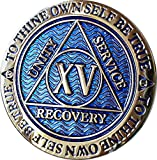 15 Year AA Medallion Dusty Blue Color Gold Plated Chip XV