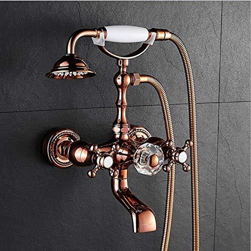 DXX-HR Juego de grifo de bañera de oro rosa para bañera, grifo de cobre en la pared, C (color: -, tamaño: -)