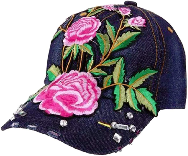 GKO Women Flower Embroidery Hiphop Baseball Cap Rhinestone Bling Denim Snapback Hat
