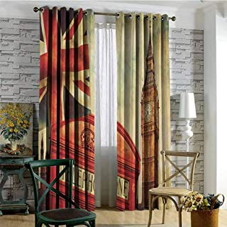 London 100% blackout lining curtain Vintage Style Symbols of London with National Flag UK Great Britain Old Clock Tower Full shading treatment kitchen insulation curtain W84 x L72 Inch Multicolor
