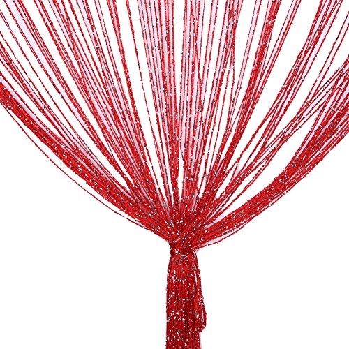TRIXES Rot Fadenvorhang im Tautropfen Design als Raumteiler Fliegenschutz oder als Festliche saisonale Dekoration Voller Größe: 90cm x 200cm - Vorhänge
