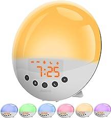 SZMDLX Wake Up Light, Light Alarm Clock with Sunrise/Sunset Simulation and FM Radio, 7 Colors / 9 Alarm Sounds / Snooze / 30 Brightness / USB Charging, Sleep Aid Digital Alarm Clock for Kids Adults Bedrooms