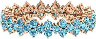 Anillo de aguamarina de corte redondo de 2,10 mm, de corte redondo, anillo de boda de eternidad, anillo de aniversario de ...