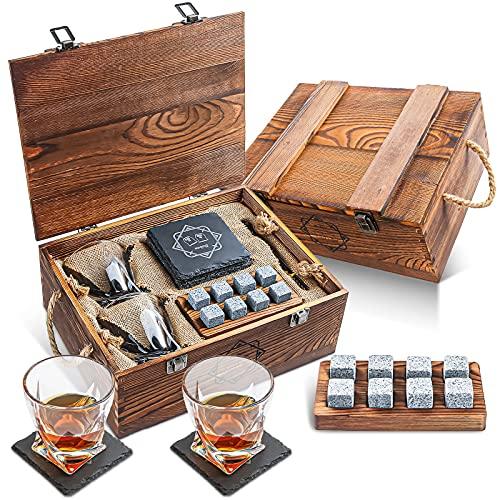 Baban Set di Bicchiere da Whisky Classico, con 2 Bicchieri da Whisky, 8 Pietre di Wiskey, 2X Sottobicchiere, 1x Pallet di Legno, Pinze per Il Ghiaccio, Squisita Scatola di Legno