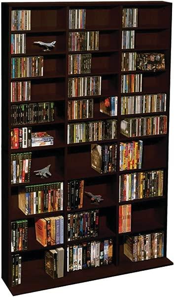 Atlantic Oskar Adjustable Media Wall Unit Holds 1080 Cds 504 DVDs Or 576 Blu Rays Games 30 Adjustable And 6 Fixed Shelves PN38435714 In Espresso