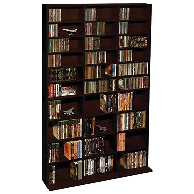 Atlantic Oskar Adjustable Media Wall-Unit - Holds 1080 Cds, 504 Dvds or 576 Blu-Rays/Games, 30 Adjustable and 6 Fixed Shelves PN38435714 In Espresso
