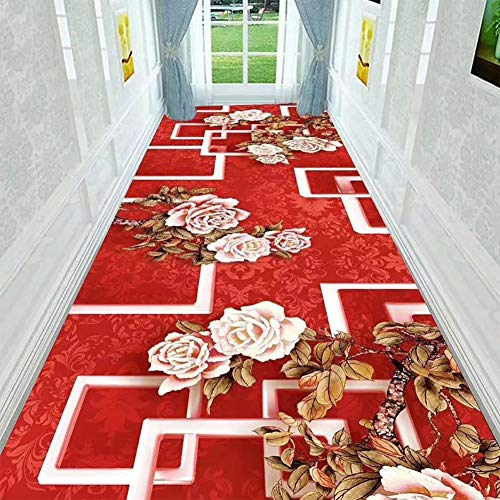 GuoWei Longue Tapis pour Couloir Entrée Intérieur Antidérapant Coupable Moderne Plusieurs Tailles Personnalisable (Couleur : Rouge, taille : 0.9x7m)