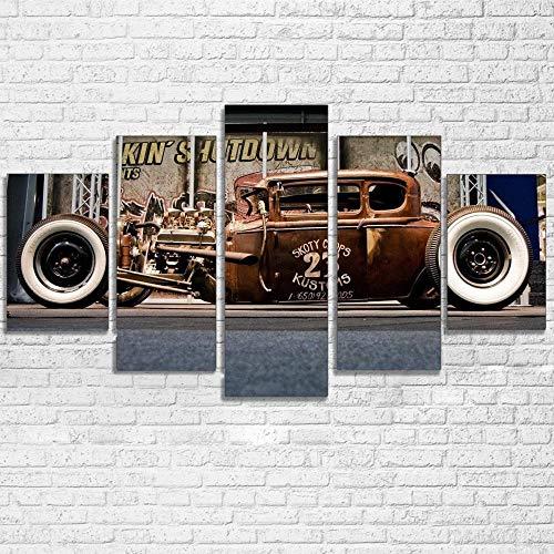 IIIUHU 5 Piezas Cuadro sobre Lienzo De Fotos Varilla Rata Lienzo Impresión Cuadros Decoracion Salon Grandes Cuadros para Dormitorios Modernos Mural Pared Listo para Colgar