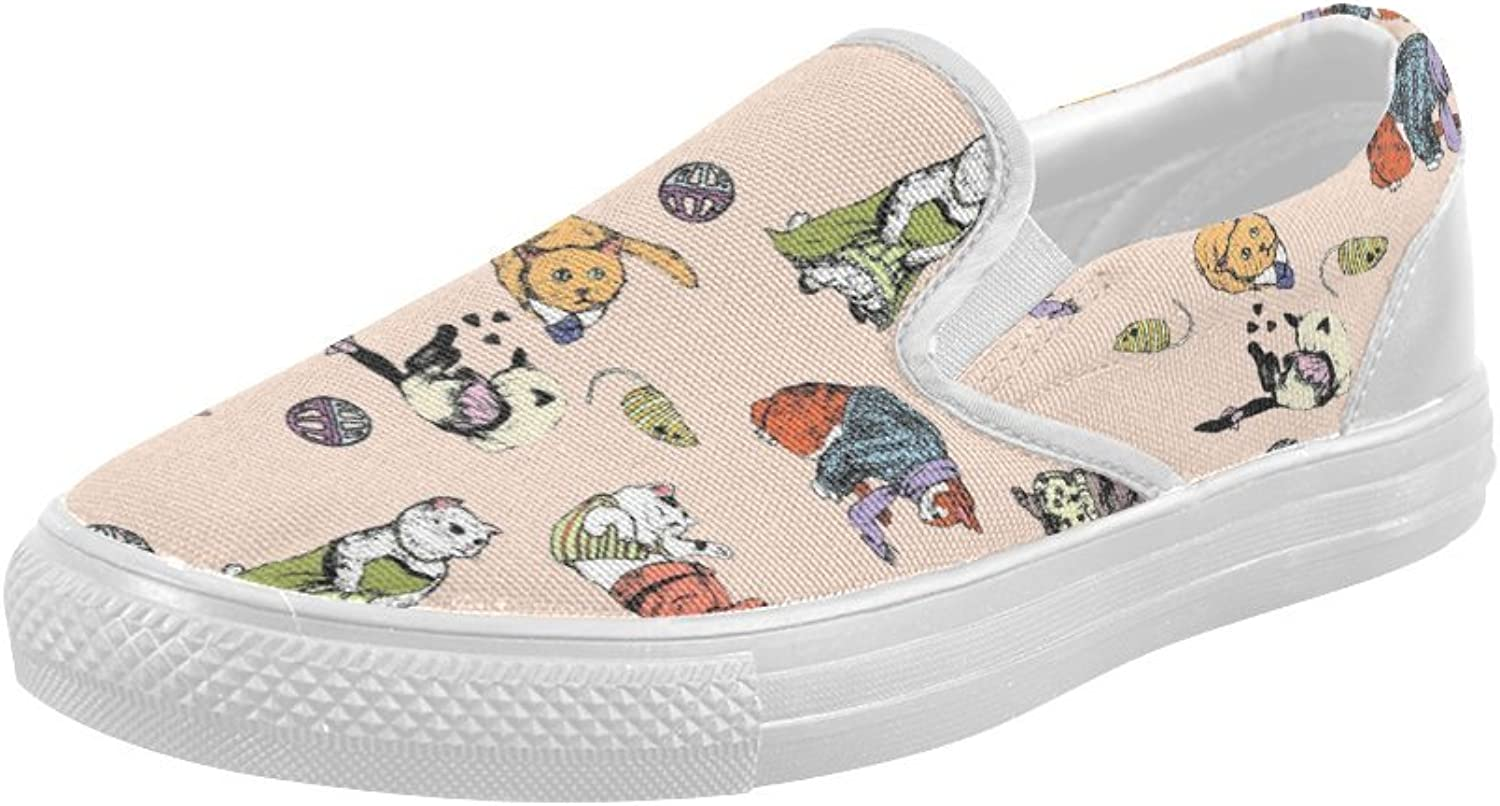 HUANGDAISY shoes Play Cats Slip-on Canvas Loafer for Women