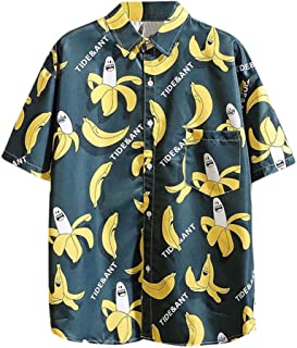 Mlide Mens Hawaiian Shirt Fashion Short Sleeve Boho Print Casual Loose Beach Shirt