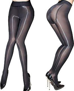 HTRUIYATY, Medias transparentes de mujer Medias de aceite Medias brillantes Pantimedias Pantyhose de seda sexy (Negro)