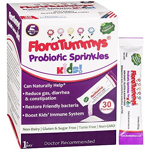FloraTummys Probiotics for Kids: 30 Taste-Free Powder Packets, Free of Food Allergens, Non-Dairy, Gluten-Free, Sugar-Free, Vegan, Non-GMO, Kids Prebiotic