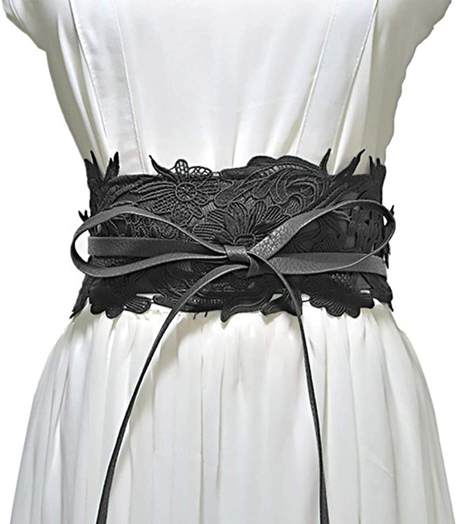 Cheap mail order High quality sales Gemily Lace Wide Black Waist Belt Corset Waistband Art Cinch Lea